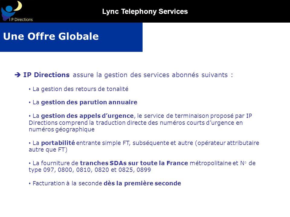 Lync Telephony Services IP Directions assure la gestion des services abonnés suivants : La gestion des retours de tonalité La gestion des parution ann