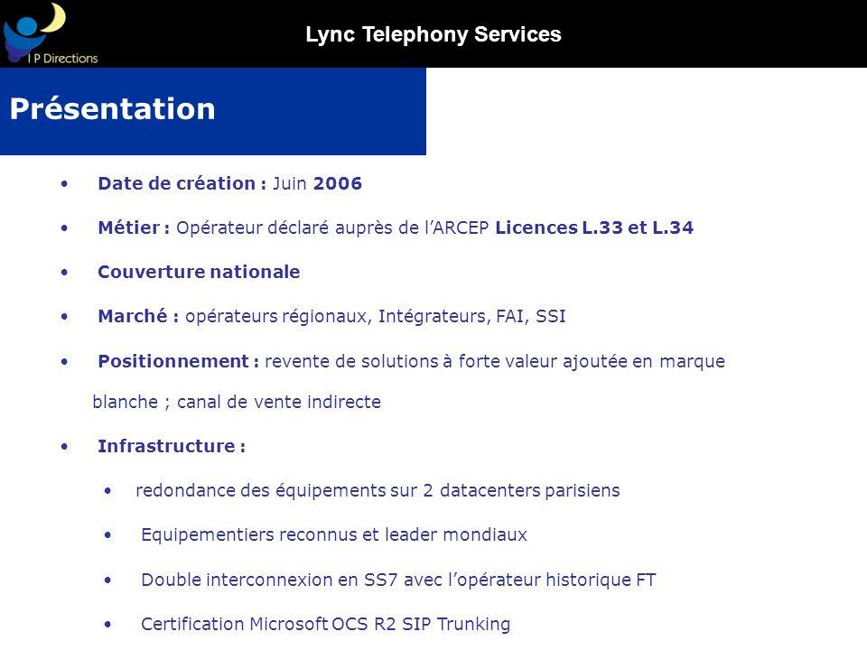 Lync Telephony Services Gestion de lensemble du trafic adressé : France fixe 01/02/03/04/05/087B/097B France Mobile Premium, (interconnexion directe avec présentation des CLIs).