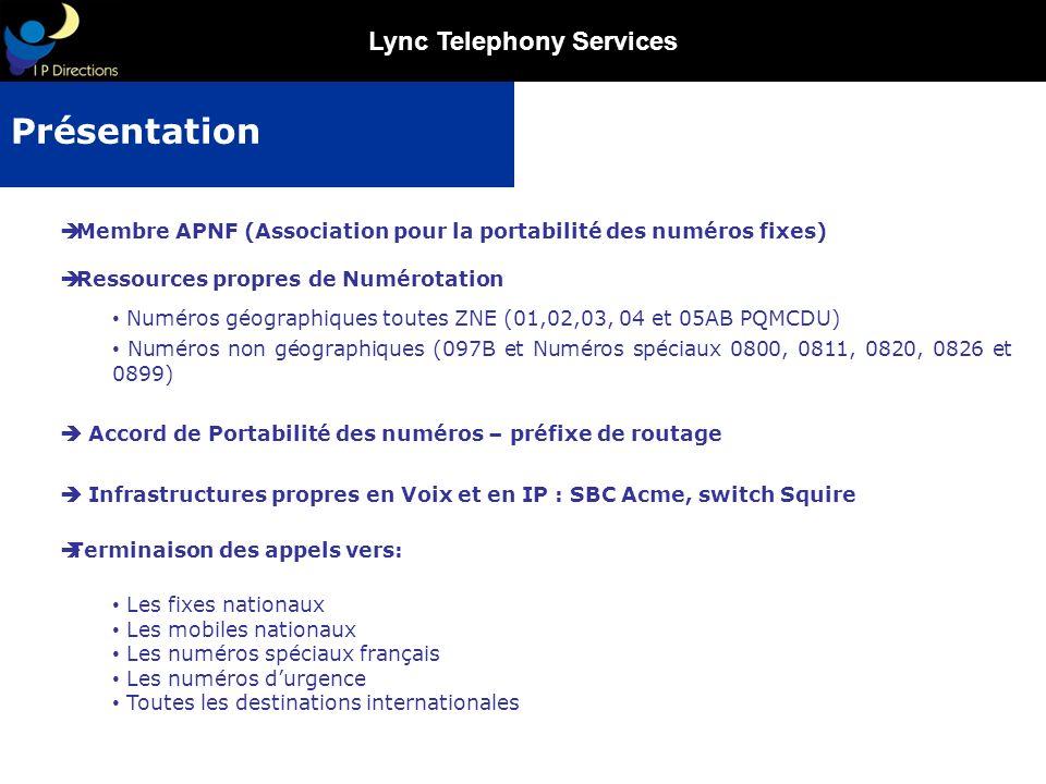 Lync Telephony Services Membre APNF (Association pour la portabilité des numéros fixes) Ressources propres de Numérotation Numéros géographiques toute