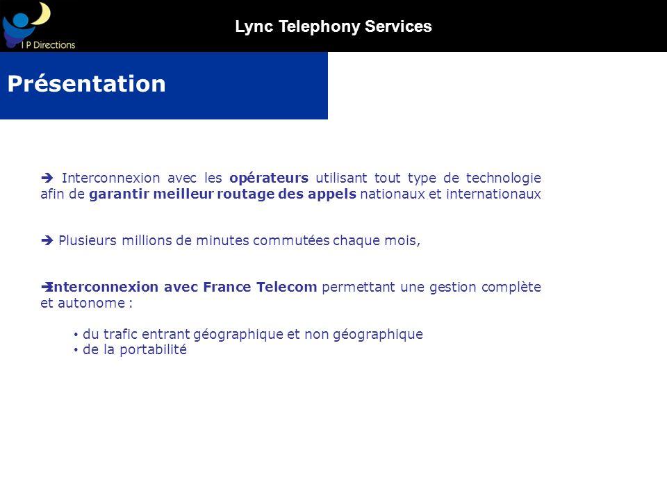 Lync Telephony Services Fin 2010 IP Directions compte plus de 80 partenaires opérateur et intégrateurs…plus de 30 000 postes actifs Signature dun grand compte européen au travers dun VNO leader en Europe pour déploiement de 370 sites (Portabilité, collecte entrante et sortante) Une compatibilité totale SIP RFC2833 avec les gateways Interconnexion avec France Telecom en propre sur une infrastructure SS7 évolutive SIP Déploiement de la solution Microsoft OCS en interne et chez un intégrateur majeur commercialisant cette offre innovante Membre actif de lAPNF parmi les 12 opérateurs majeurs Orange, Free, Verizon, Bouygues etc… Position atypique et dominante sur la marché pour la fourniture de services opérateur : réactivité, souplesse et qualité premium Les Acquis