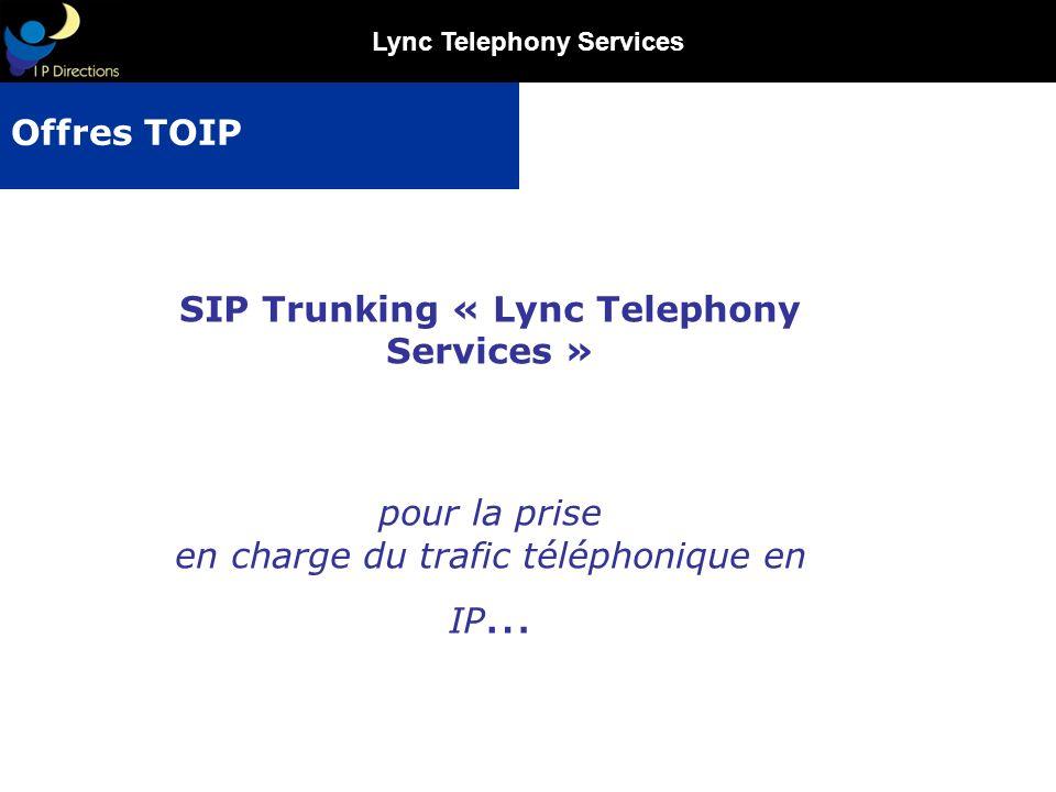 Lync Telephony Services Générer de nouvelles sources de revenus Devenir le prestataire principal (voire unique …) de services télécoms auprès de vos clients finaux Proposer une offre compétitive, souple et génératrice déconomies pour le client final (réduction sur les abonnements et couts téléphoniques) Participer activement à lémergence du marché de la ToIP en devenant un acteur majeur Proposer une offre à la fois simple, novatrice et attractive, répondant aux attentes du marché entreprise Commercialiser de nouveaux services dans une logique de conquête et/ou fidélisation de la clientèle Rendre interopable lintégration de votre plateforme de communications unifiée Microsoft Lync avec une offre opérateur en marque blanche full IP Vos Objectifs