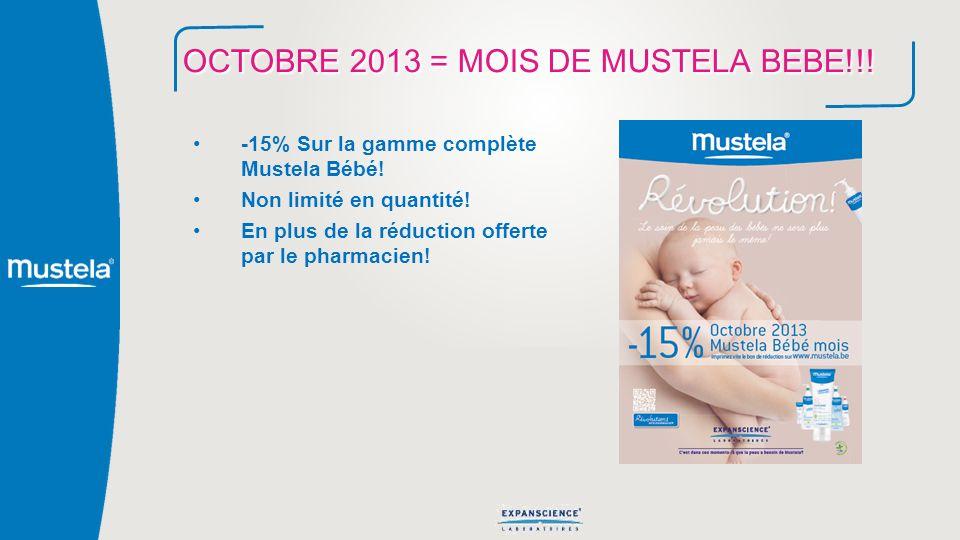 OCTOBRE 2013 = MOIS DE MUSTELA BEBE!!! -15% Sur la gamme complète Mustela Bébé! Non limité en quantité! En plus de la réduction offerte par le pharmac