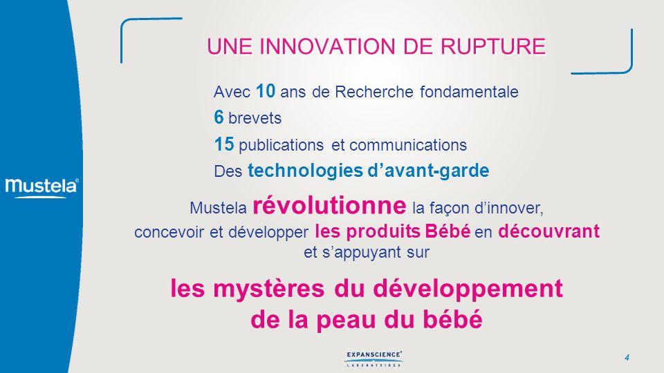 UNE INNOVATION DE RUPTURE 4 Avec 10 ans de Recherche fondamentale 6 brevets 15 publications et communications Des technologies davant-garde Mustela ré