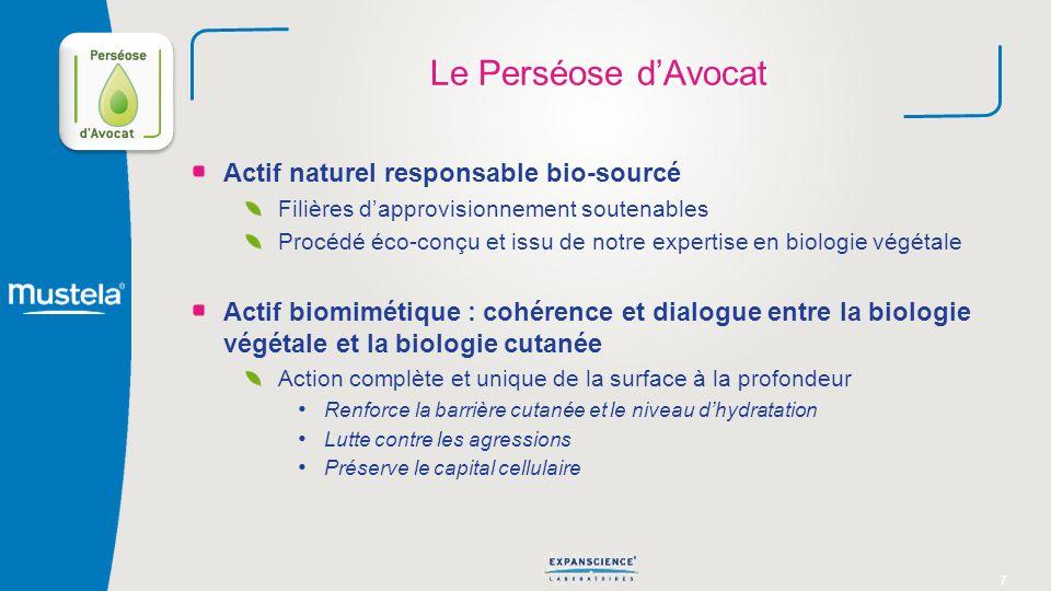7 Le Perséose dAvocat Actif naturel responsable bio-sourcé Filières dapprovisionnement soutenables Procédé éco-conçu et issu de notre expertise en bio