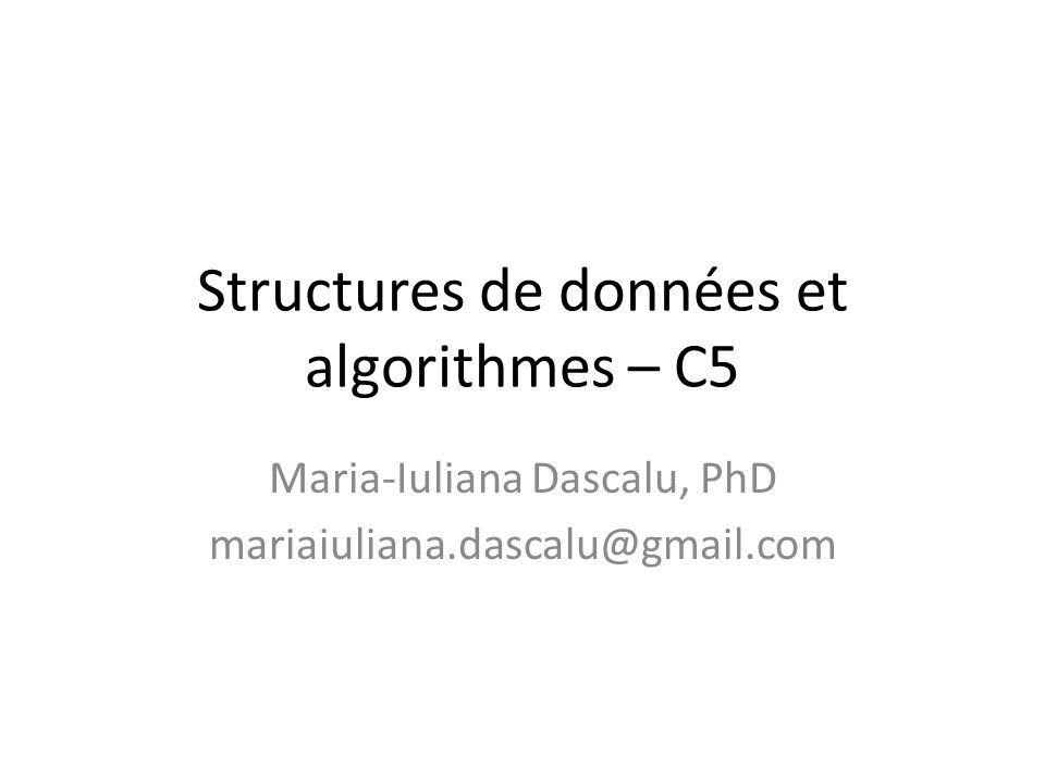 Structures de données et algorithmes – C5 Maria-Iuliana Dascalu, PhD mariaiuliana.dascalu@gmail.com