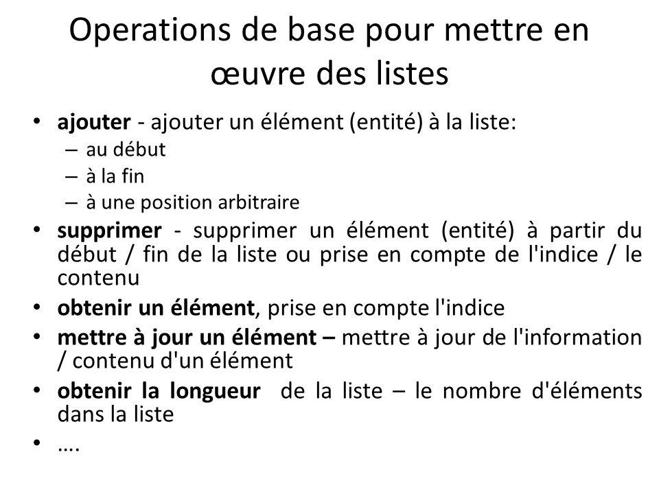 Operations de base pour mettre en œuvre des listes ajouter - ajouter un élément (entité) à la liste: – au début – à la fin – à une position arbitraire