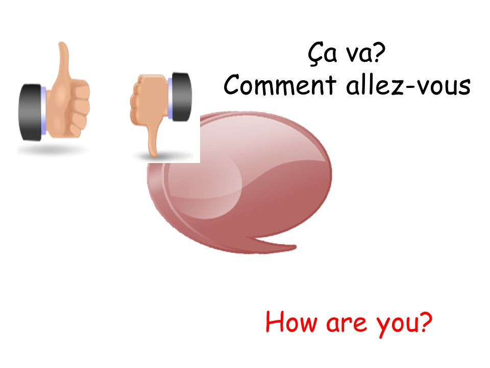 Ça va? Comment allez-vous How are you?