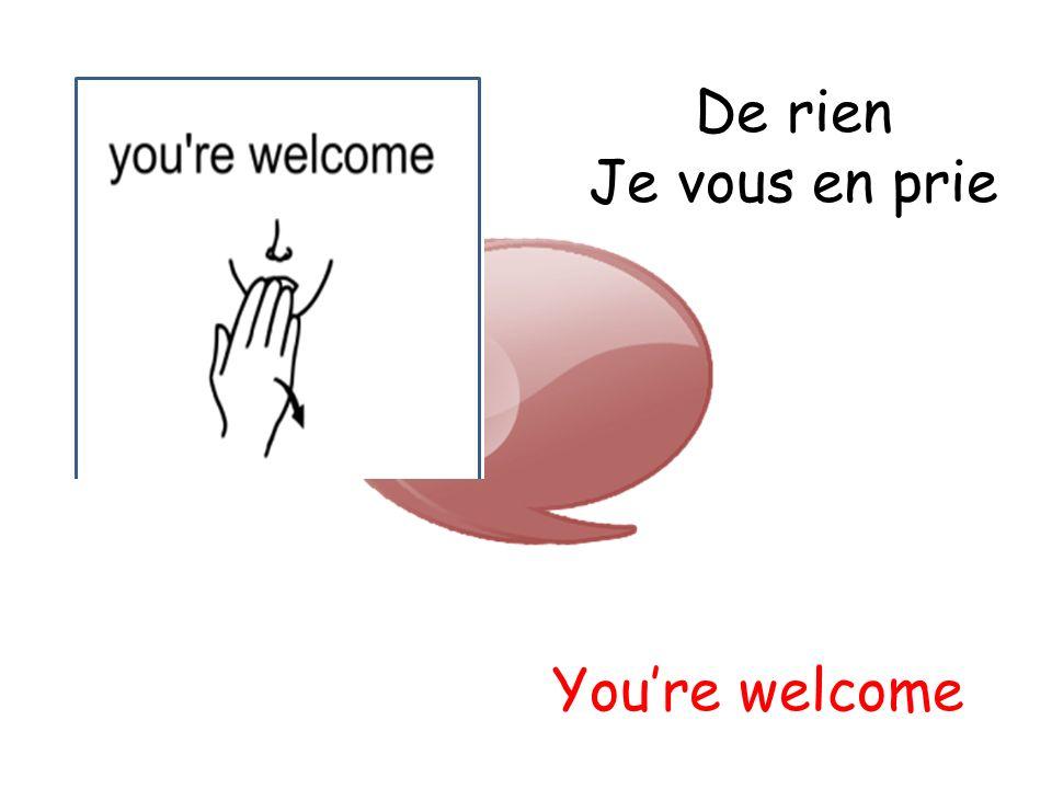 De rien Je vous en prie Youre welcome