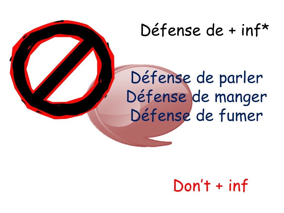 Défense de + inf* Dont + inf Défense de parler Défense de manger Défense de fumer