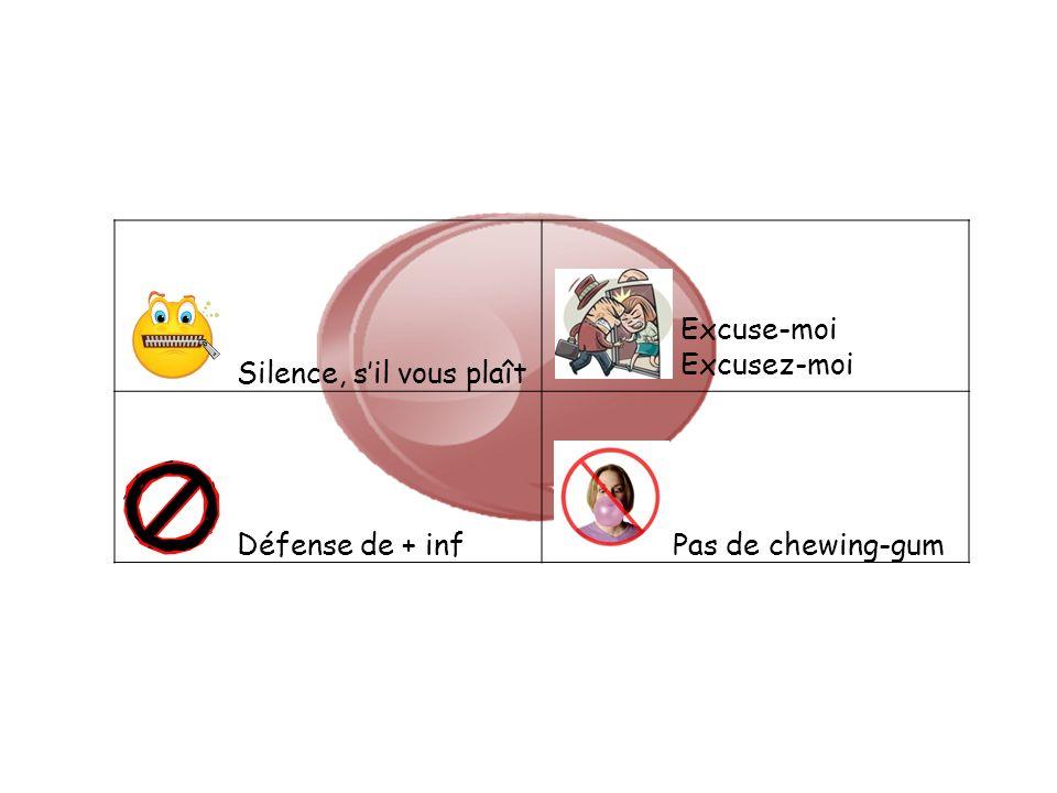 Silence, sil vous plaît Défense de + inf Pas de chewing-gum Excuse-moi Excusez-moi