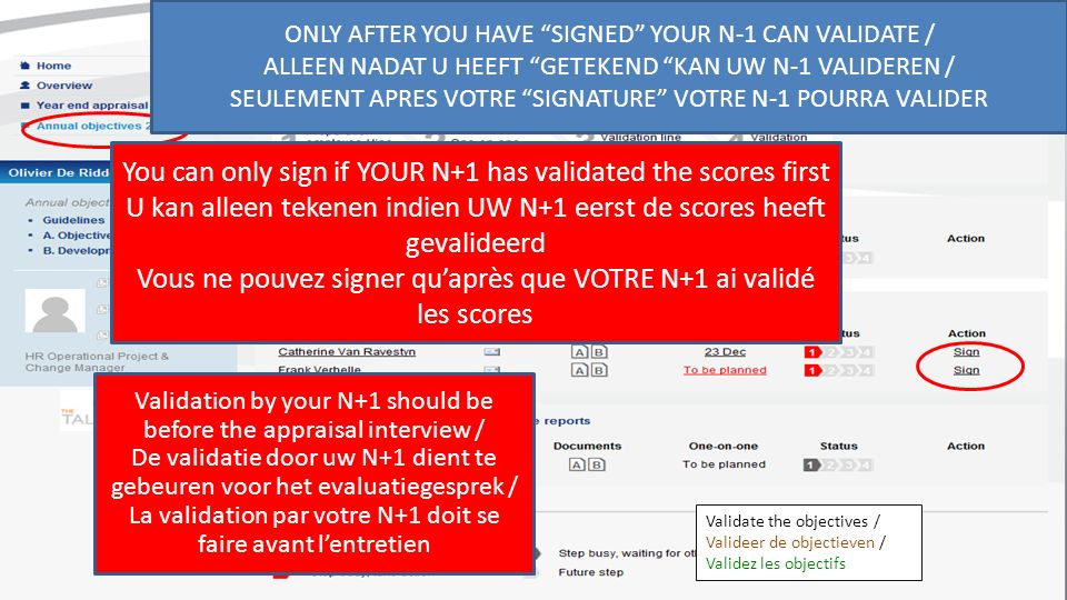 Validate the objectives / Valideer de objectieven / Validez les objectifs Validation by your N+1 should be before the appraisal interview / De validatie door uw N+1 dient te gebeuren voor het evaluatiegesprek / La validation par votre N+1 doit se faire avant lentretien ONLY AFTER YOU HAVE SIGNED YOUR N-1 CAN VALIDATE / ALLEEN NADAT U HEEFT GETEKEND KAN UW N-1 VALIDEREN / SEULEMENT APRES VOTRE SIGNATURE VOTRE N-1 POURRA VALIDER You can only sign if YOUR N+1 has validated the scores first U kan alleen tekenen indien UW N+1 eerst de scores heeft gevalideerd Vous ne pouvez signer quaprès que VOTRE N+1 ai validé les scores