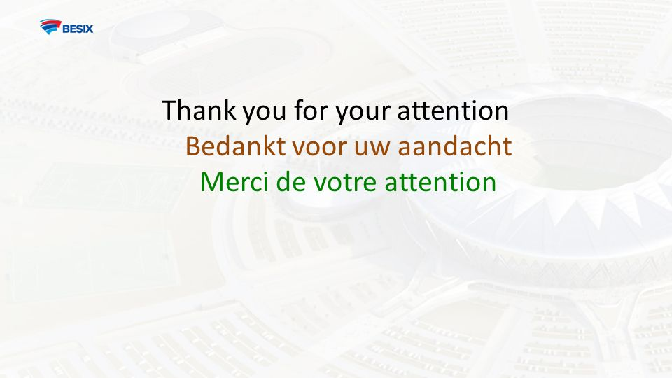 Thank you for your attention Bedankt voor uw aandacht Merci de votre attention