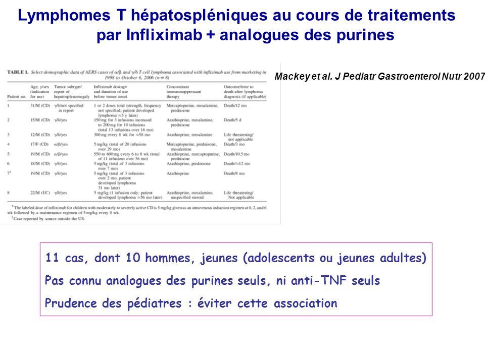 Mackey et al. J Pediatr Gastroenterol Nutr 2007 Lymphomes T hépatospléniques au cours de traitements par Infliximab + analogues des purines 11 cas, do