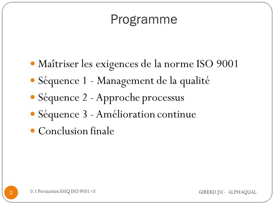 Maîtriser les exigences de la norme ISO 9001 Objectifs : Comprendre les exigences de la norme ISO 9001 Identifier les axes nécessaires à la mise en place dun système de management de la qualité selon le référentiel ISO 9001 Pré requis : pas de pré requis particulier Pour qui Dirigeants dentreprise ou représentant Responsable Qualité, correspondant qualité, pilote de processus Responsable du projet de certification Toute personne intéressé par la démarche qualité Durée : 3 jours Cette formation saccompagne dun coaching GIRERD JM - ALPHAQUAL 3 0.1 Formation SMQ ISO 9001 v3