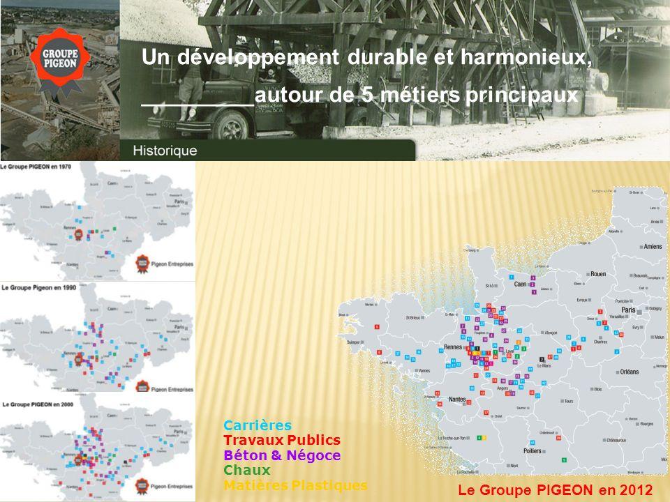 Carrières Travaux Publics Béton & Négoce Chaux Matières Plastiques Le Groupe PIGEON en 2012 Un développement durable et harmonieux, _________autour de 5 métiers principaux