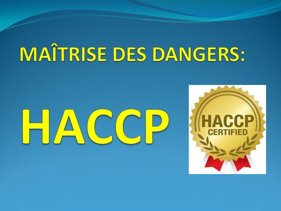 HACCP = Acronyme : H azard A nalysis - C ritical C ontrol P oint Traduction francaise : Analyse du Danger, Points Critiques pour le Contrôle Points Essentiels pour leur Maîtrise