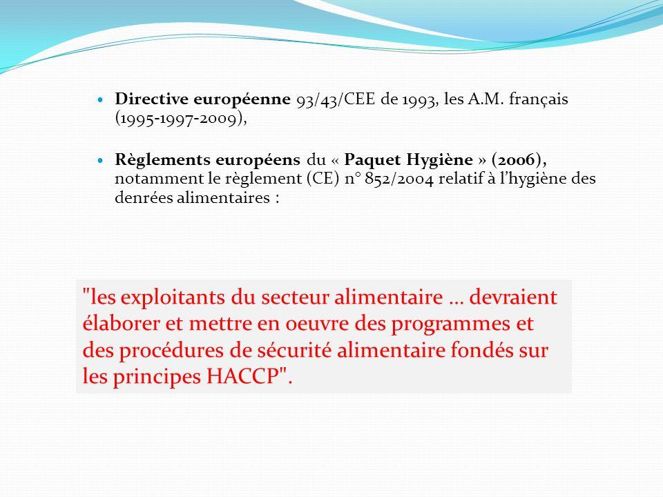 Directive européenne 93/43/CEE de 1993, les A.M. français (1995-1997-2009), Règlements européens du « Paquet Hygiène » (2006), notamment le règlement