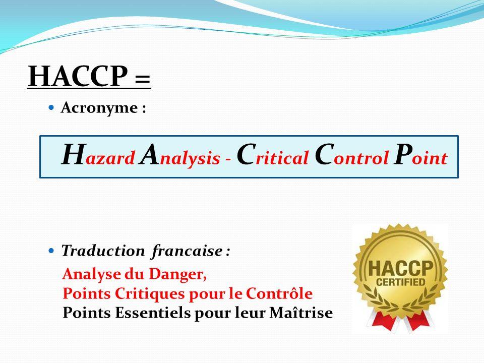 HACCP = Acronyme : H azard A nalysis - C ritical C ontrol P oint Traduction francaise : Analyse du Danger, Points Critiques pour le Contrôle Points Es