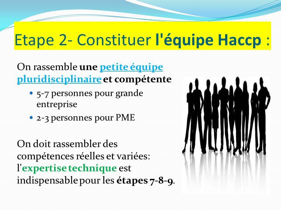 Etape 2- Constituer l'équipe Haccp : On rassemble une petite équipe pluridisciplinaire et compétente 5-7 personnes pour grande entreprise 2-3 personne