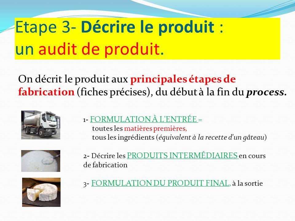 Etape 3- Décrire le produit : un audit de produit. On décrit le produit aux principales étapes de fabrication (fiches précises), du début à la fin du