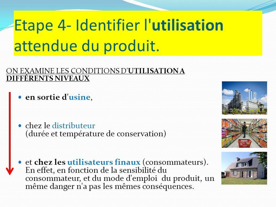 Etape 4- Identifier l'utilisation attendue du produit. ON EXAMINE LES CONDITIONS D'UTILISATION A DIFFÉRENTS NIVEAUX en sortie d'usine, chez le distrib