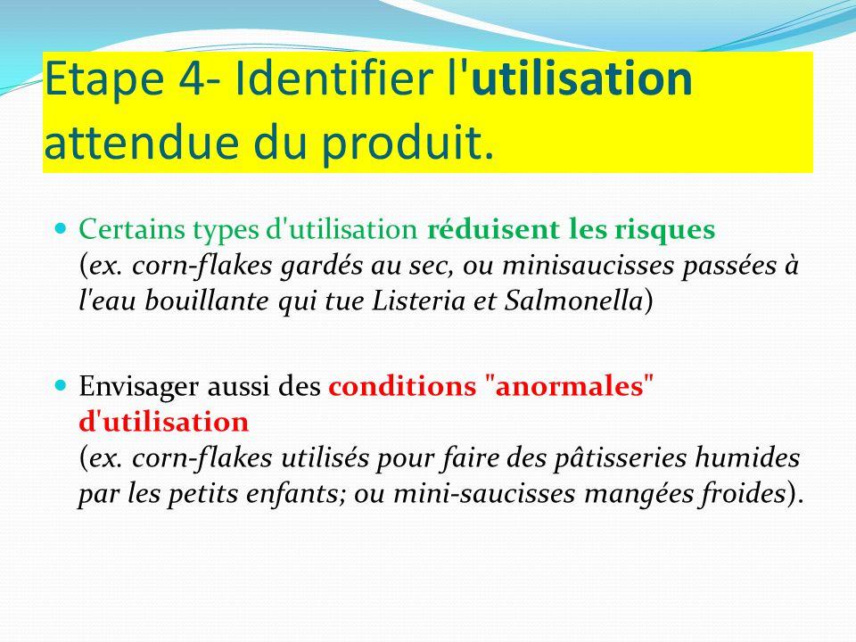 Etape 4- Identifier l'utilisation attendue du produit. Certains types d'utilisation réduisent les risques (ex. corn-flakes gardés au sec, ou minisauci