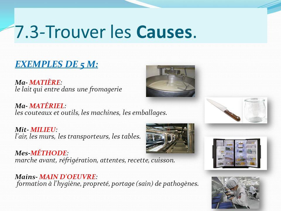 7.3-Trouver les Causes. EXEMPLES DE 5 M: Ma- MATIÈRE: le lait qui entre dans une fromagerie Ma- MATÉRIEL: les couteaux et outils, les machines, les em