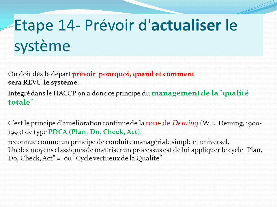 Etape 14- Prévoir d'actualiser le système On doit dès le départ prévoir pourquoi, quand et comment sera REVU le système. Intégré dans le HACCP on a do