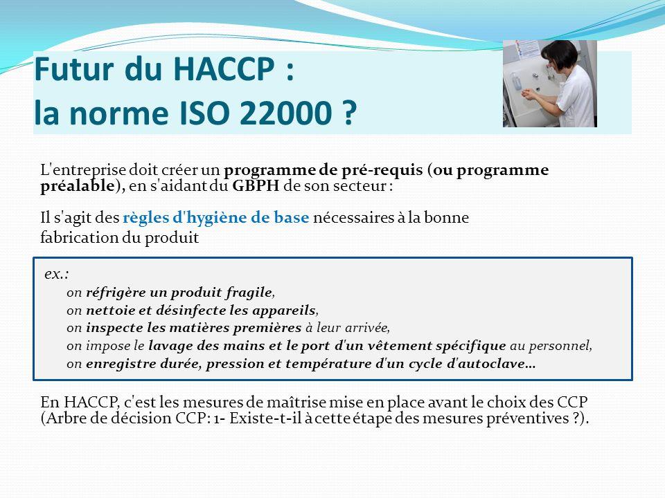 Futur du HACCP : la norme ISO 22000 ? L'entreprise doit créer un programme de pré-requis (ou programme préalable), en s'aidant du GBPH de son secteur