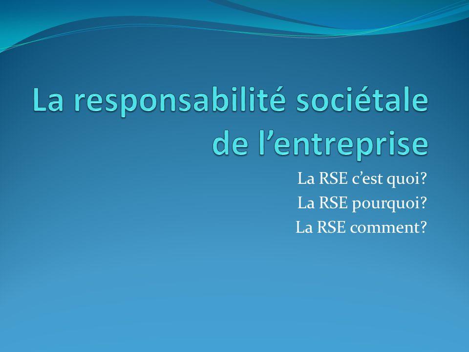 La RSE cest quoi? La RSE pourquoi? La RSE comment?