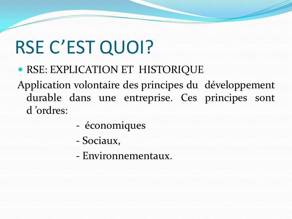 RSE CEST QUOI? RSE: EXPLICATION ET HISTORIQUE Application volontaire des principes du développement durable dans une entreprise. Ces principes sont d