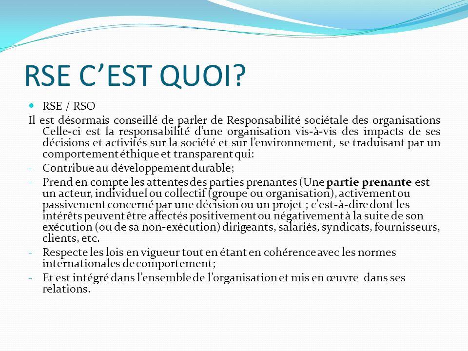 RSE CEST QUOI? RSE / RSO Il est désormais conseillé de parler de Responsabilité sociétale des organisations Celle-ci est la responsabilité dune organi