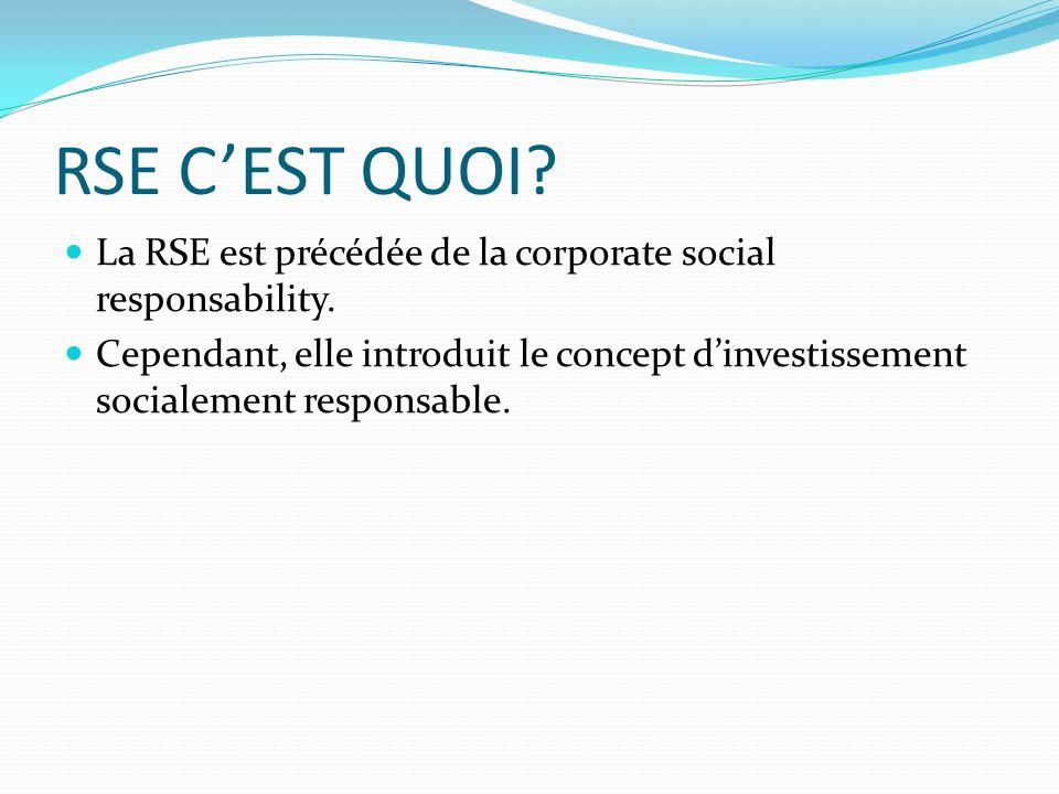 RSE CEST QUOI? La RSE est précédée de la corporate social responsability. Cependant, elle introduit le concept dinvestissement socialement responsable