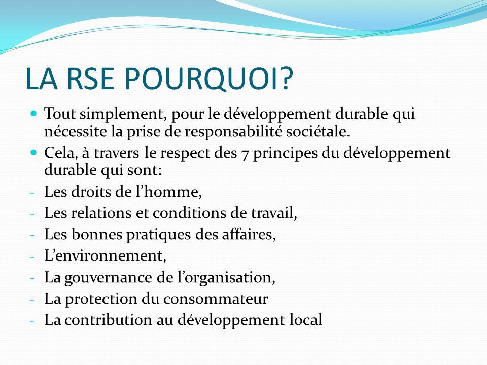 LA RSE POURQUOI? Tout simplement, pour le développement durable qui nécessite la prise de responsabilité sociétale. Cela, à travers le respect des 7 p