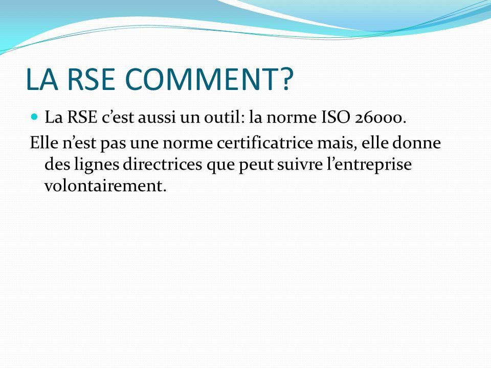 LA RSE COMMENT? La RSE cest aussi un outil: la norme ISO 26000. Elle nest pas une norme certificatrice mais, elle donne des lignes directrices que peu