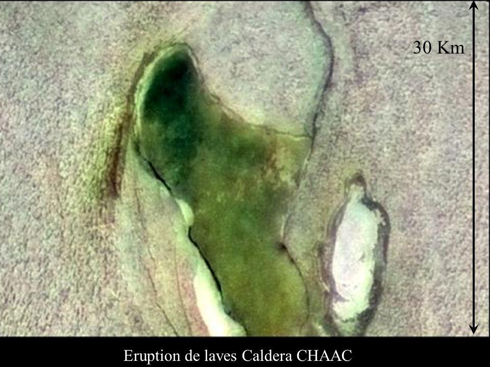 Eruption de laves Caldera CHAAC 30 Km