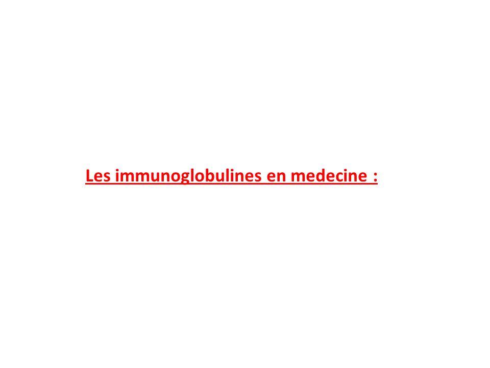 Les immunoglobulines en medecine :