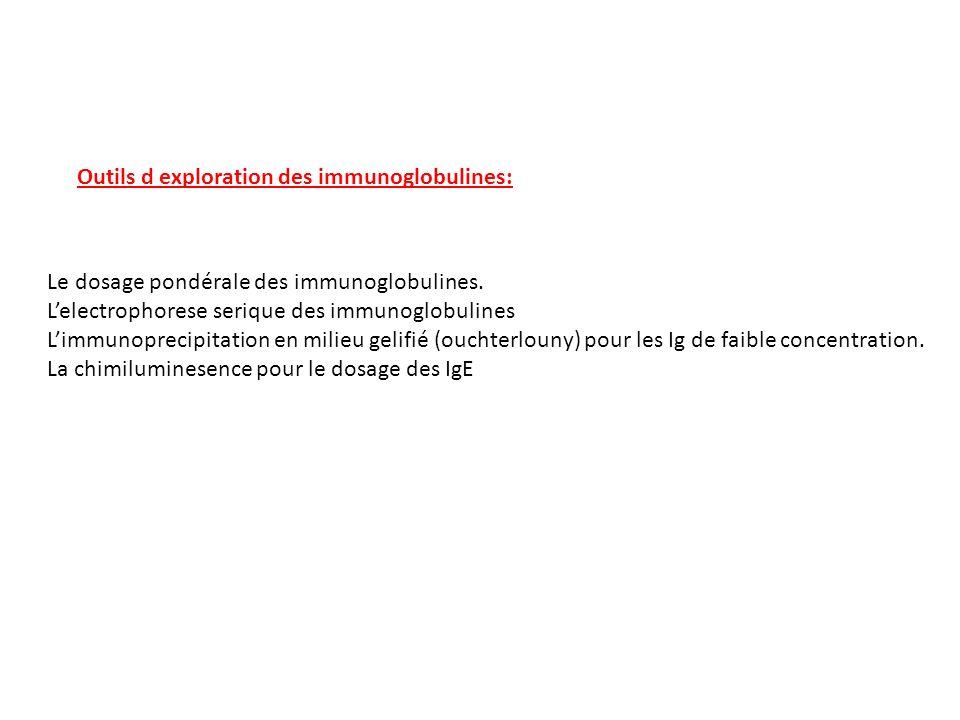 Outils d exploration des immunoglobulines: Le dosage pondérale des immunoglobulines. Lelectrophorese serique des immunoglobulines Limmunoprecipitation