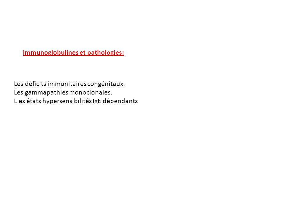 Immunoglobulines et pathologies: Les déficits immunitaires congénitaux. Les gammapathies monoclonales. L es états hypersensibilités IgE dépendants