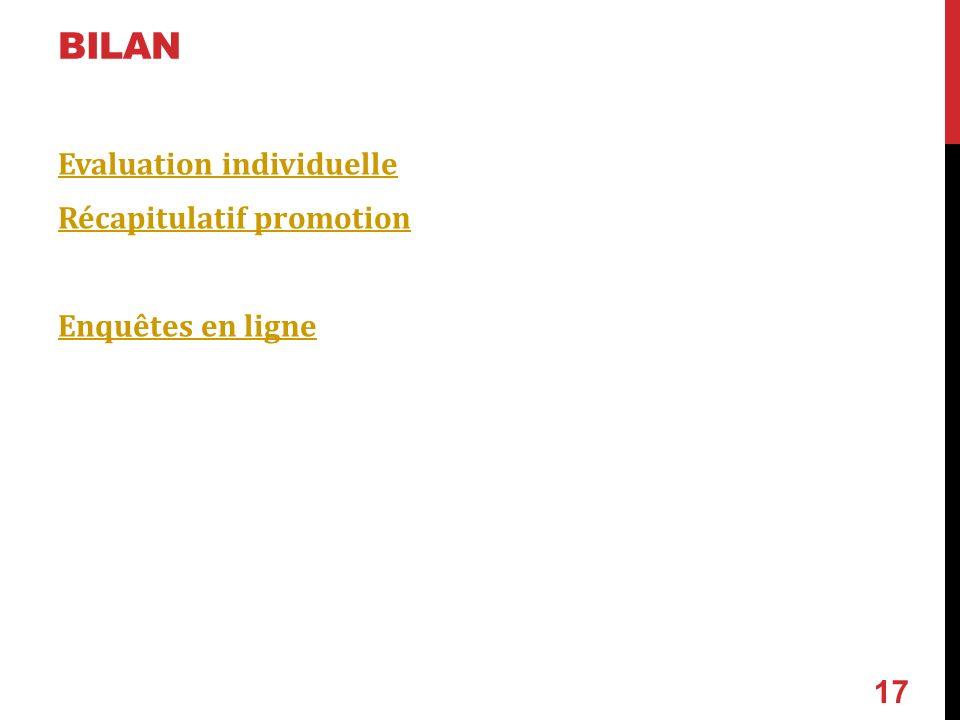 BILAN Evaluation individuelle Récapitulatif promotion Enquêtes en ligne 17
