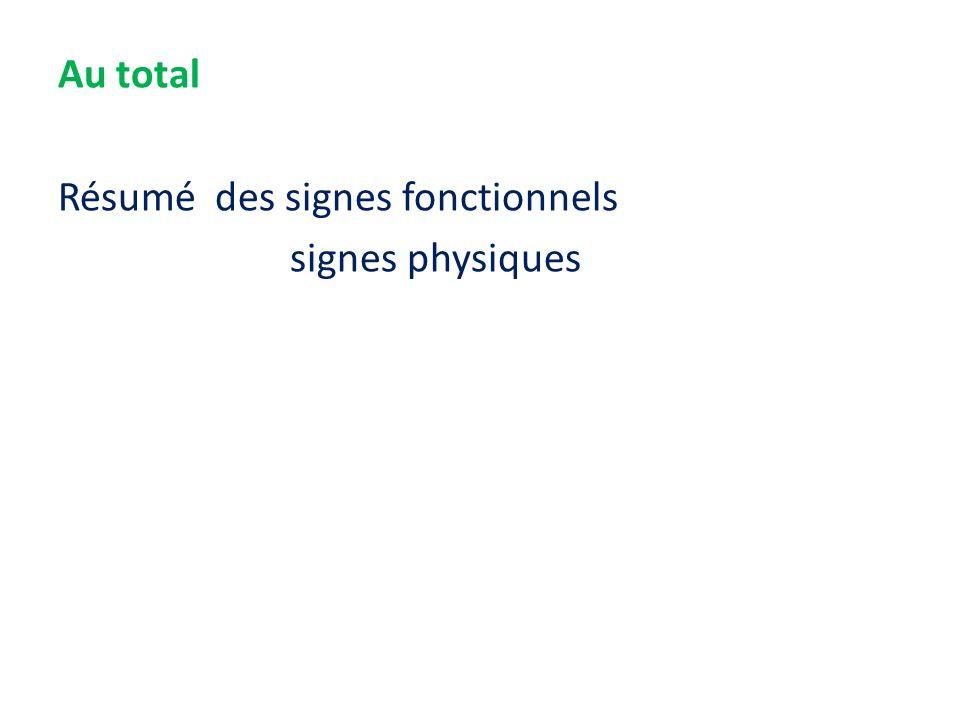 Au total Résumé des signes fonctionnels signes physiques