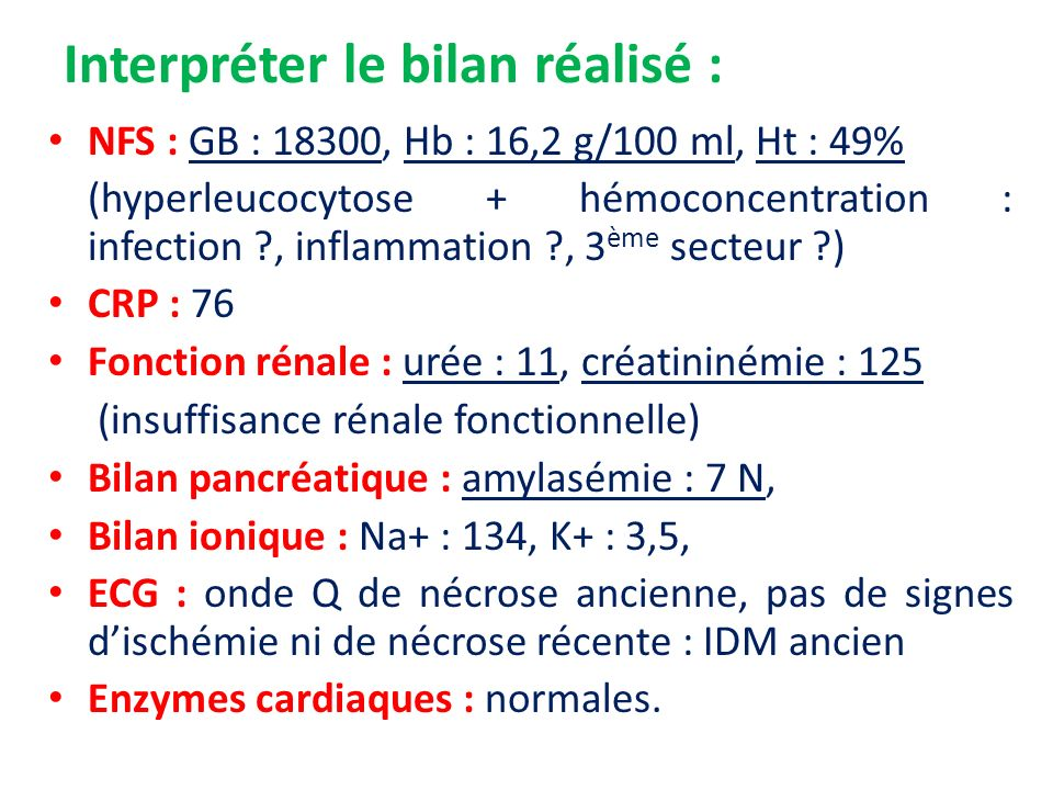 Interpréter le bilan réalisé : NFS : GB : 18300, Hb : 16,2 g/100 ml, Ht : 49% (hyperleucocytose + hémoconcentration : infection ?, inflammation ?, 3 è