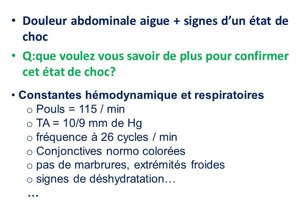 Douleur abdominale aigue + signes dun état de choc Q:que voulez vous savoir de plus pour confirmer cet état de choc.