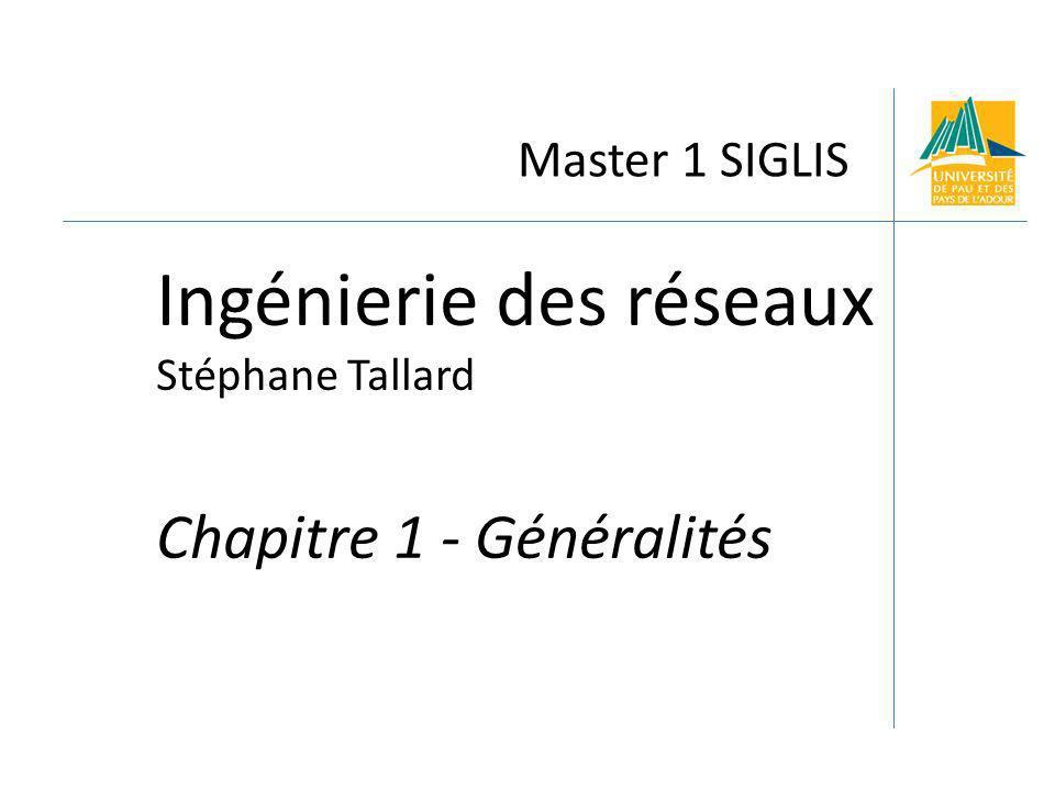 Master 1 SIGLIS Ingénierie des réseaux Stéphane Tallard Chapitre 1 - Généralités