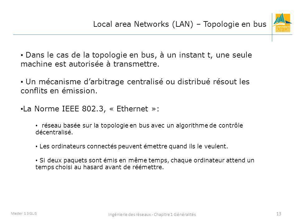 Ingénierie des réseaux - Chapitre 1 Généralités 13 Master 1 SIGLIS Local area Networks (LAN) – Topologie en bus Dans le cas de la topologie en bus, à