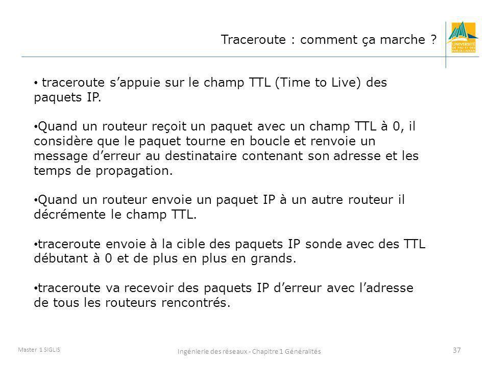 Ingénierie des réseaux - Chapitre 1 Généralités 37 Master 1 SIGLIS Traceroute : comment ça marche ? traceroute sappuie sur le champ TTL (Time to Live)
