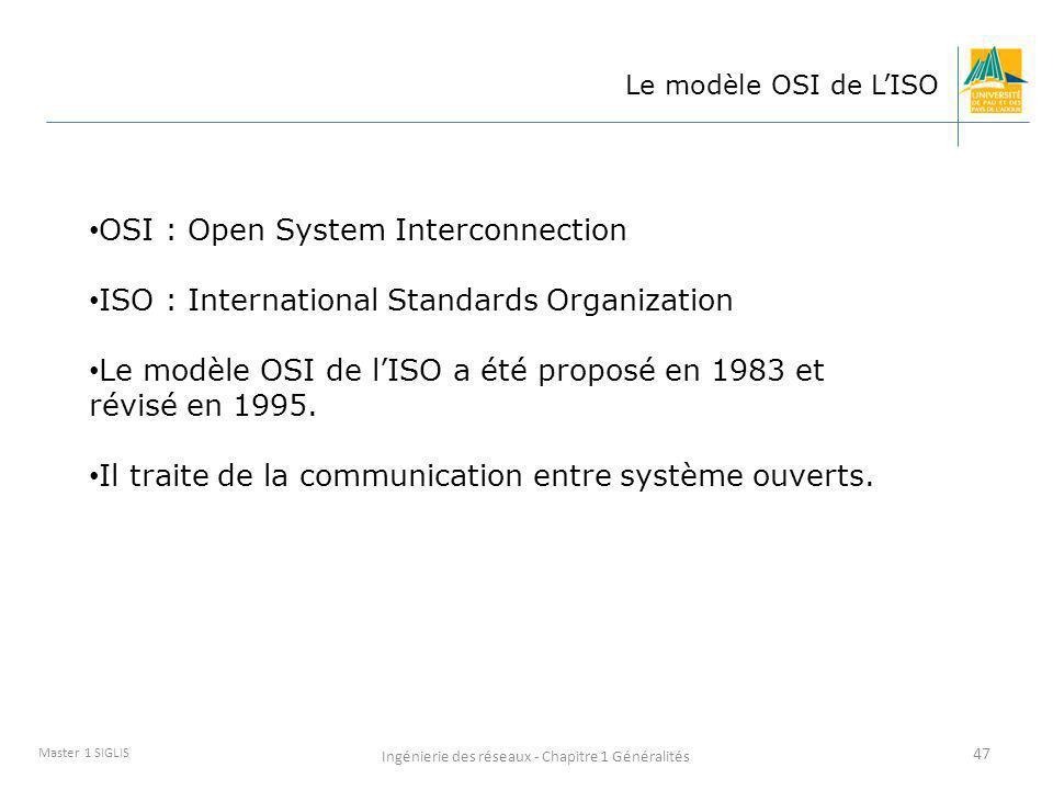 Ingénierie des réseaux - Chapitre 1 Généralités 47 Master 1 SIGLIS Le modèle OSI de LISO OSI : Open System Interconnection ISO : International Standar