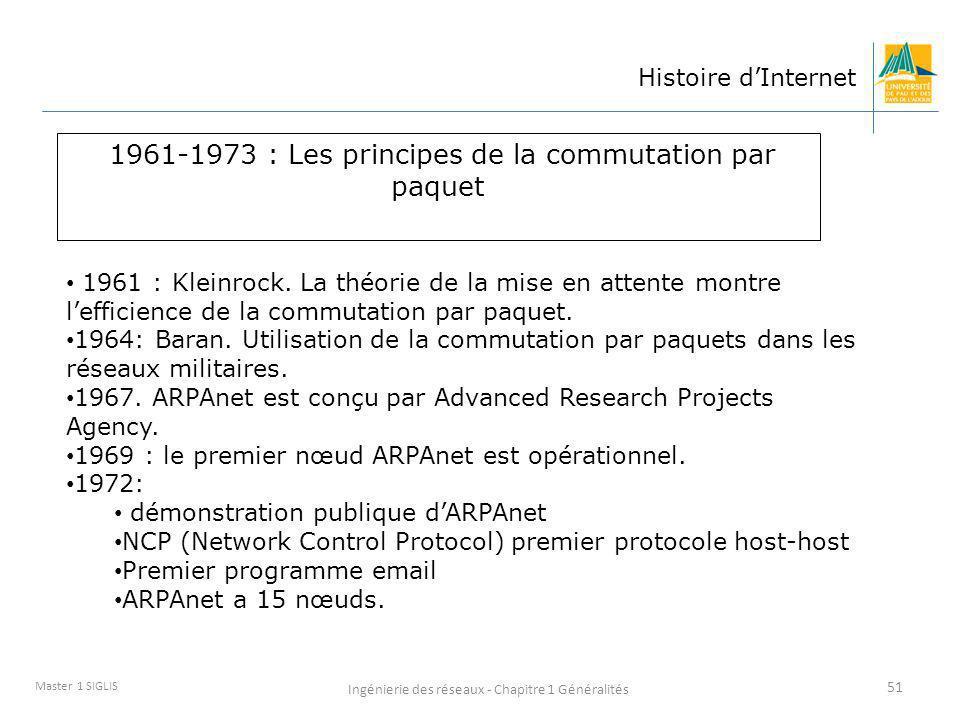 Ingénierie des réseaux - Chapitre 1 Généralités 51 Master 1 SIGLIS Histoire dInternet 1961-1973 : Les principes de la commutation par paquet 1961 : Kl