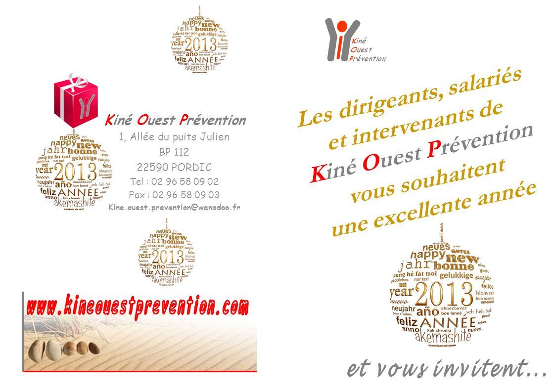 24/26 janvier : Formation « Prévention des Accidents et Maladies de lAppareil Locomoteur » à Laval 16 février : Recyclage des animateurs EquilibrAge à Plérin 4/6 octobre : Mondial Rééducation 28/30 novembre : formation « Manutention des personnes » à Caen 27 avril : Assemblée Générale KOP à Pordic 5/7 décembre : Formation « Corps accordé, stress atténué » à Rennes 21/22 juin : Congrès CNPK à Valence Mars : Audit certification qualité ISO 9001 à KOP 12/14 septembre : Formation « Ecole du stress » à Arras