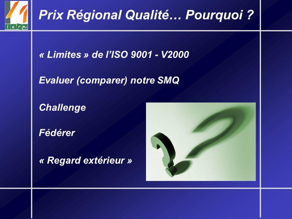 « Limites » de lISO 9001 - V2000 Prix Régional Qualité… Pourquoi ? Evaluer (comparer) notre SMQ Challenge Fédérer « Regard extérieur »